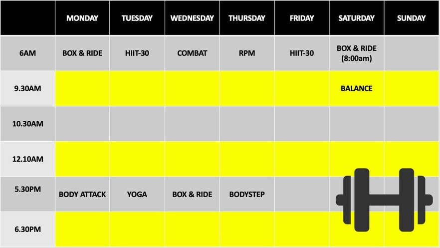 Profiles gym class timetable